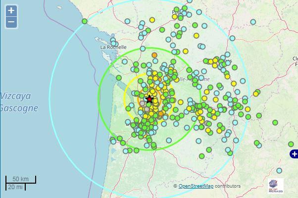 séisme à environ 35 km à l'E de Pauillac (dépt. 33, à 10h56 heure locale, M=4,9)