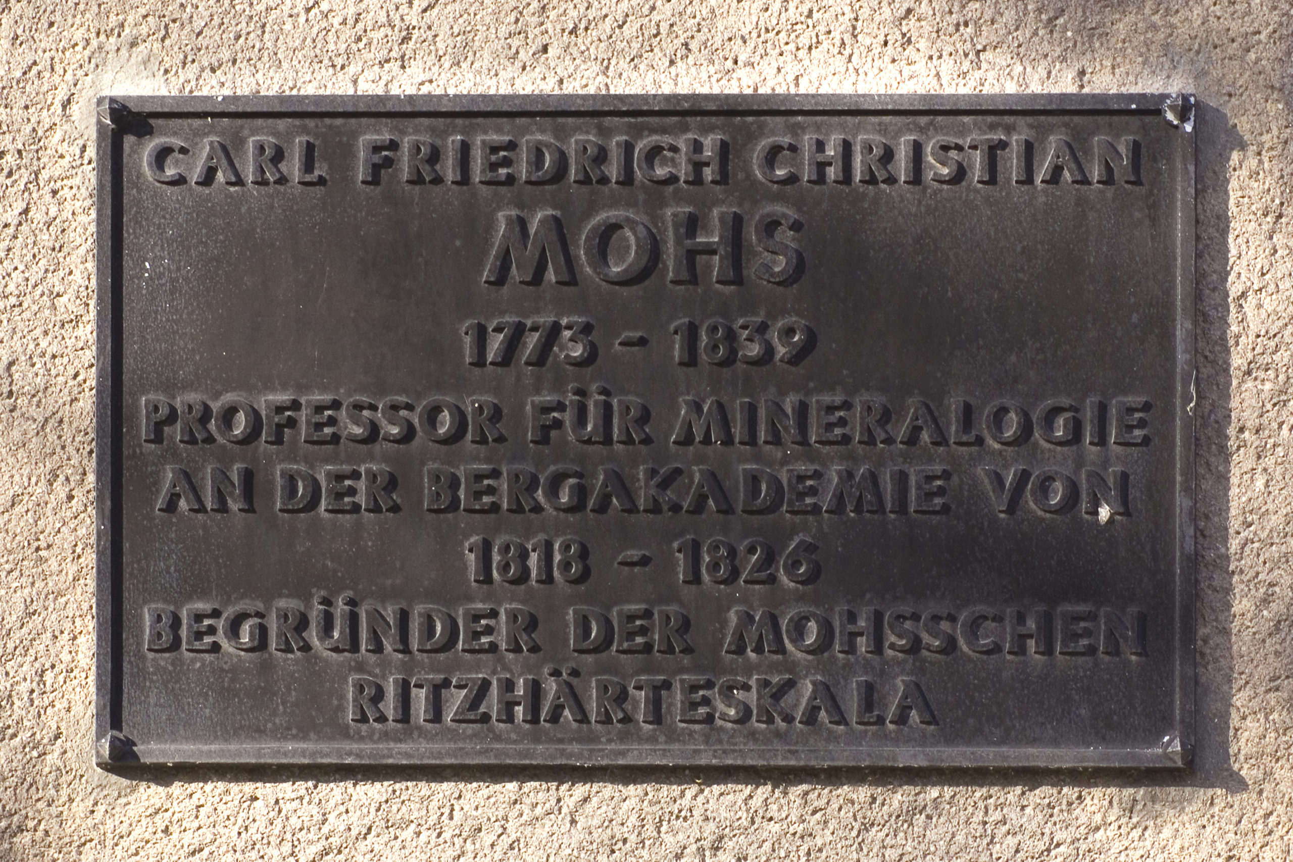 Mohs, Gedenktafel in Freiberg
